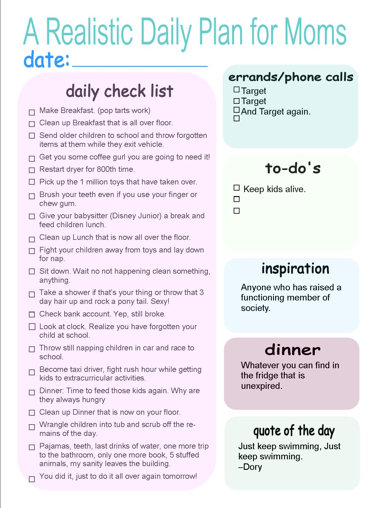 Realistic Daily Plan for Moms