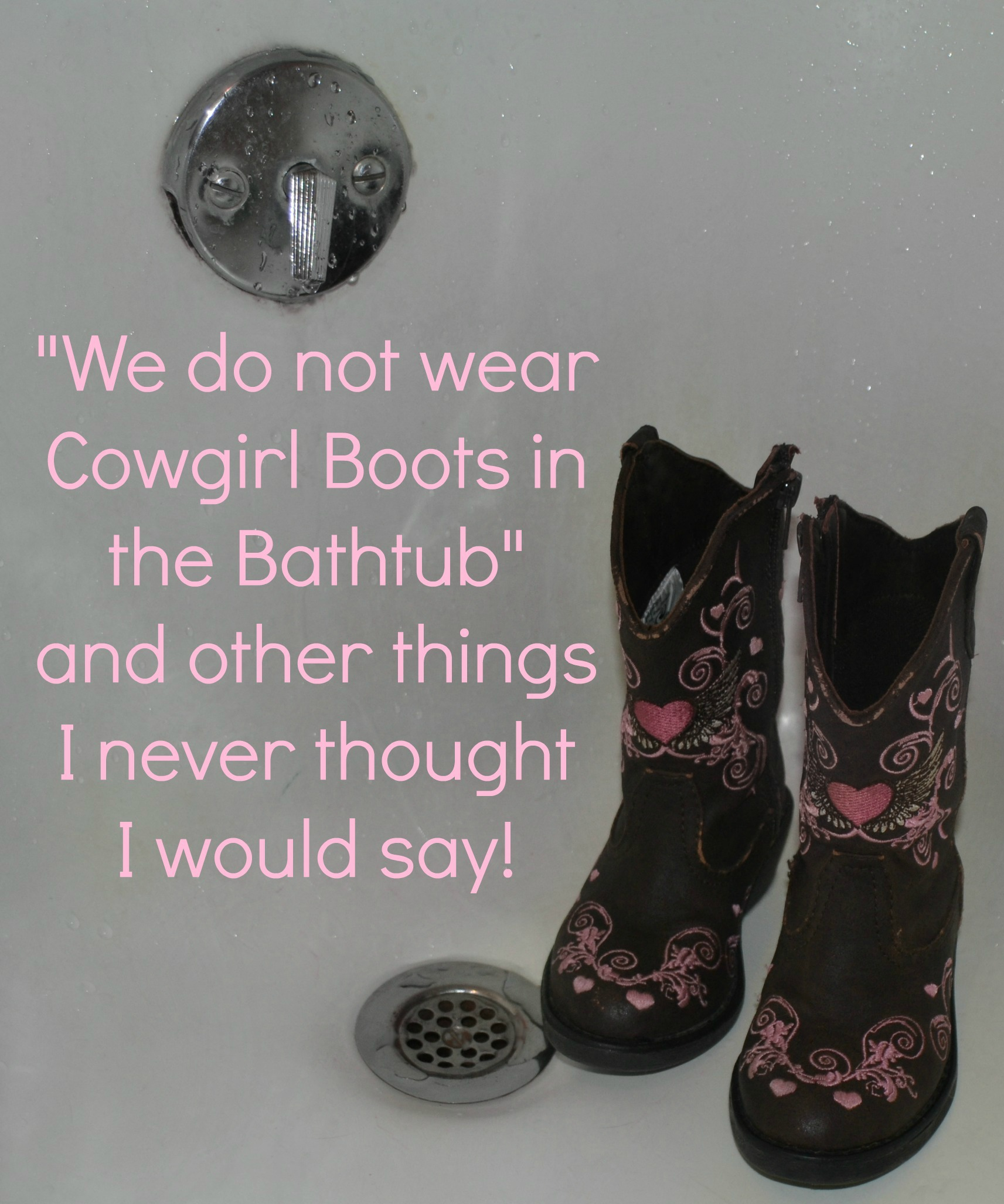 """""""Cowgirl Boots Do NOT Belong in the Bathtub"""" and Other Things I Never Thought I Would Say….."""