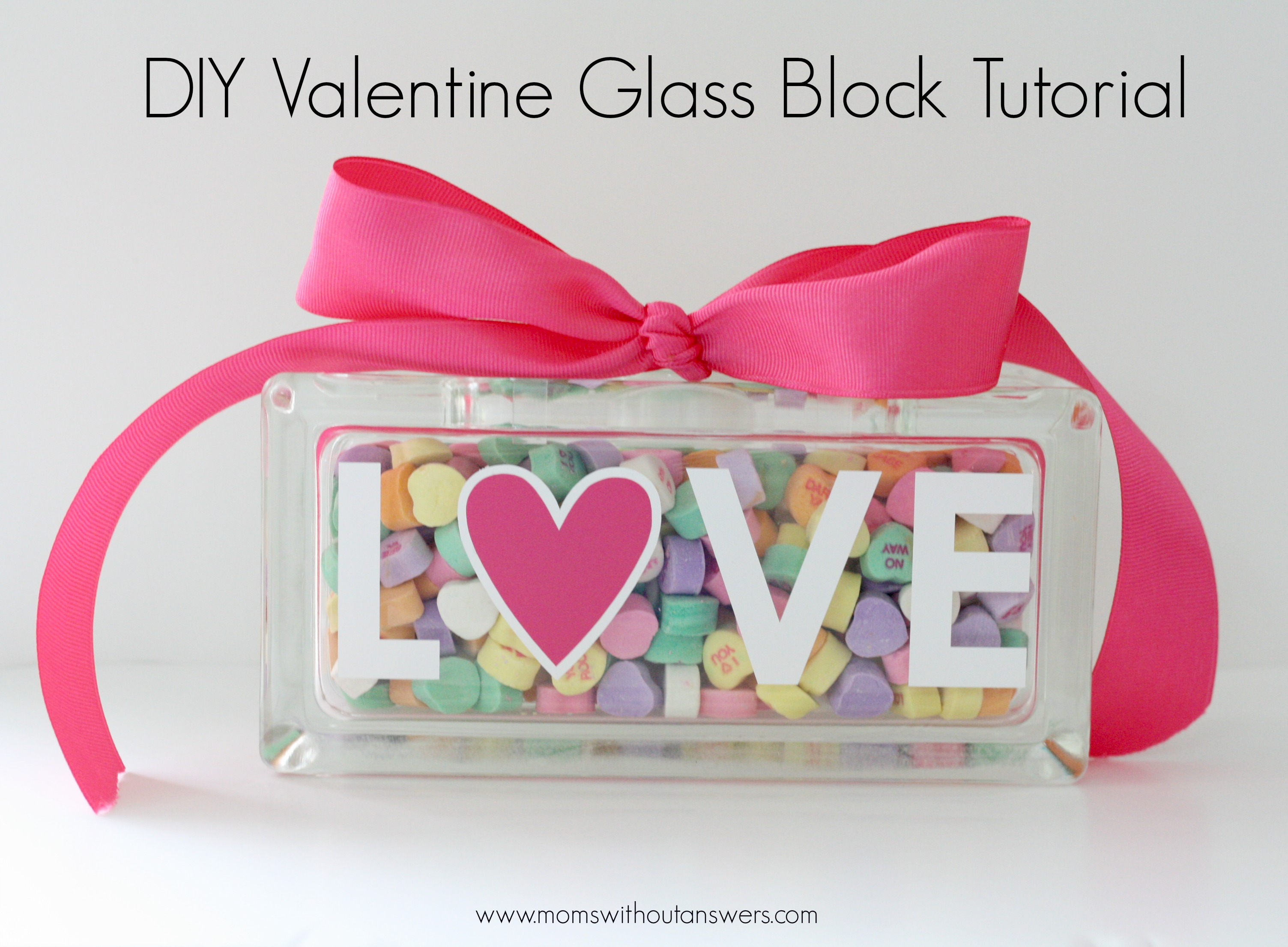 Diy valentine glass block tutorial moms without answers for Glass block for crafts