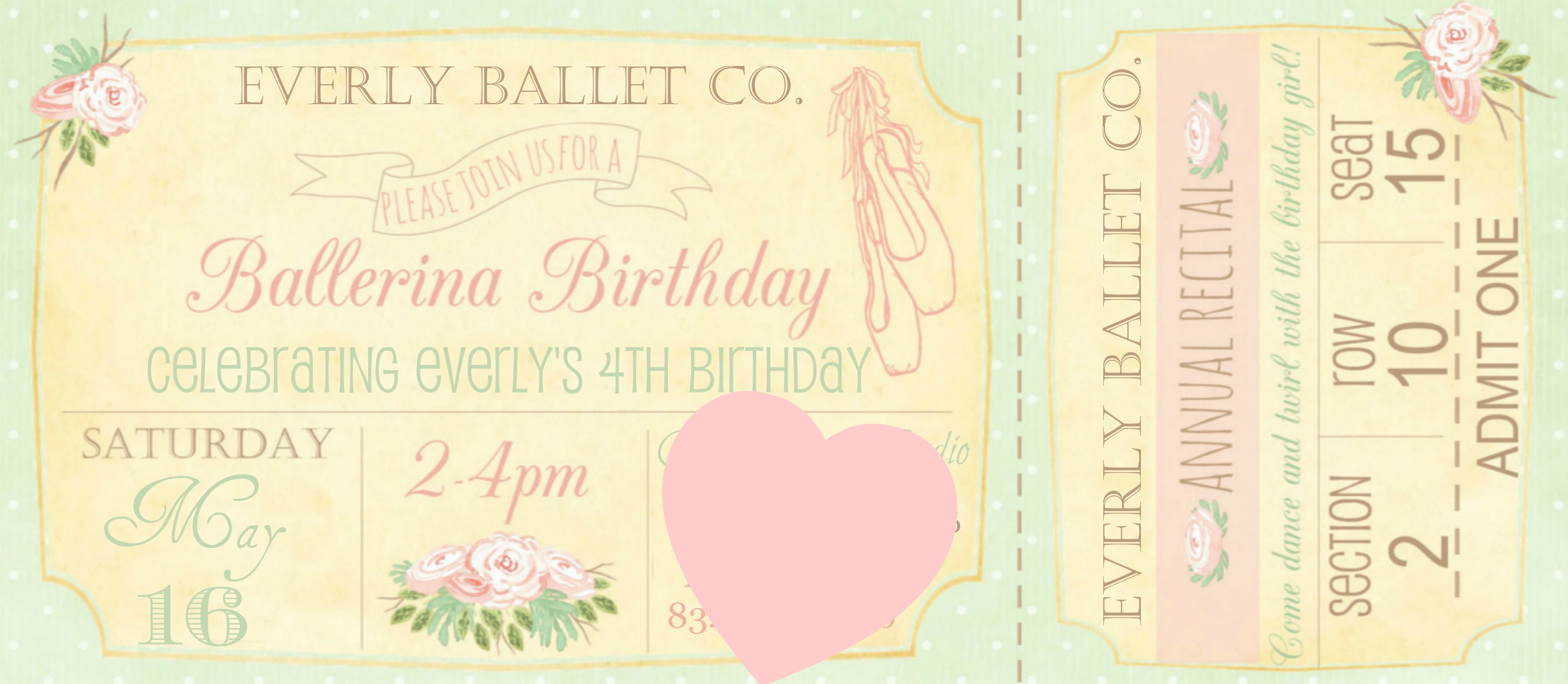 Ballet Party Invite, Pink Party, DIY Party