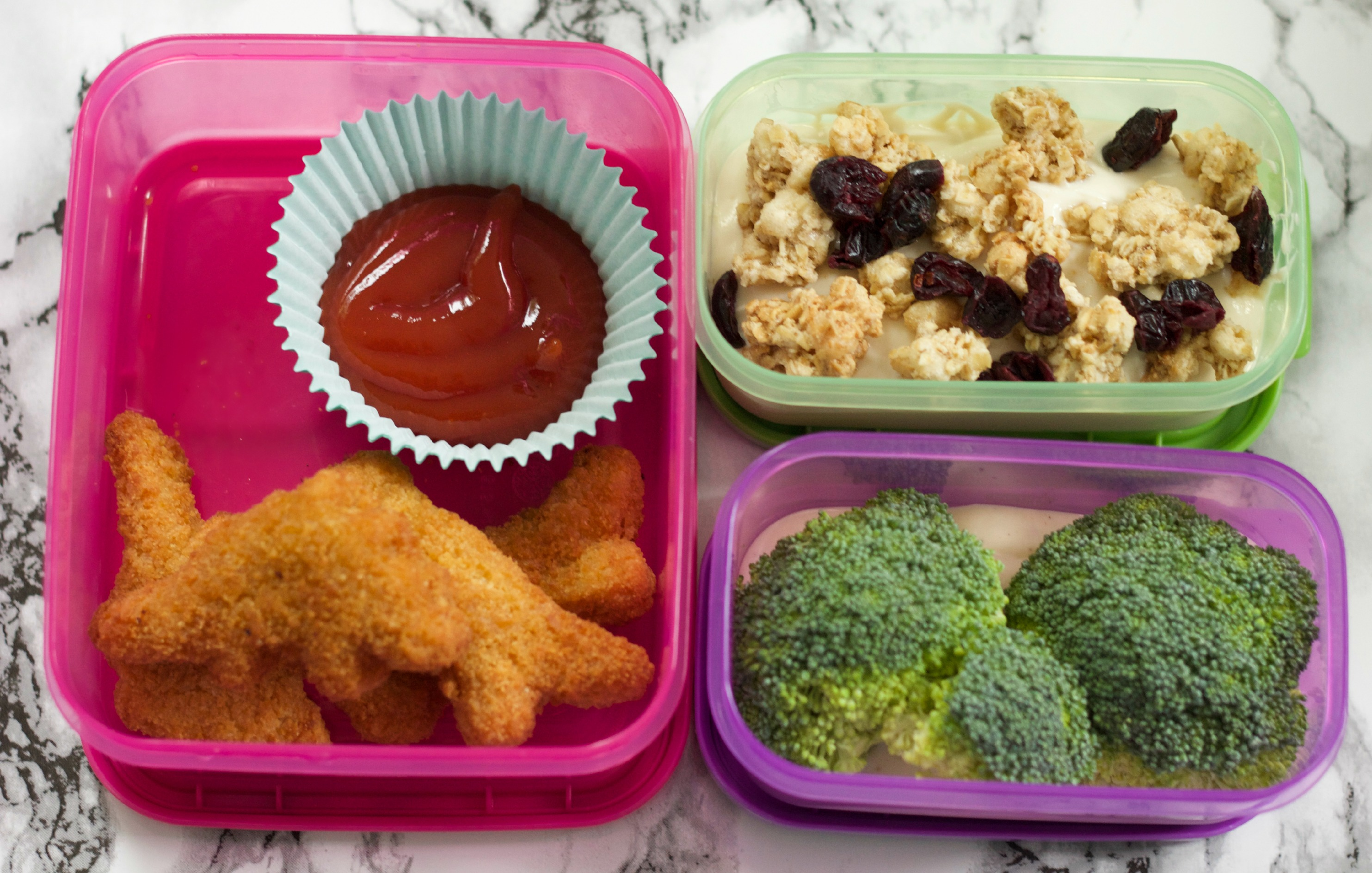 Dinosaur Chicken Nuggets, Broccoli Trees and Yogurt Parfait