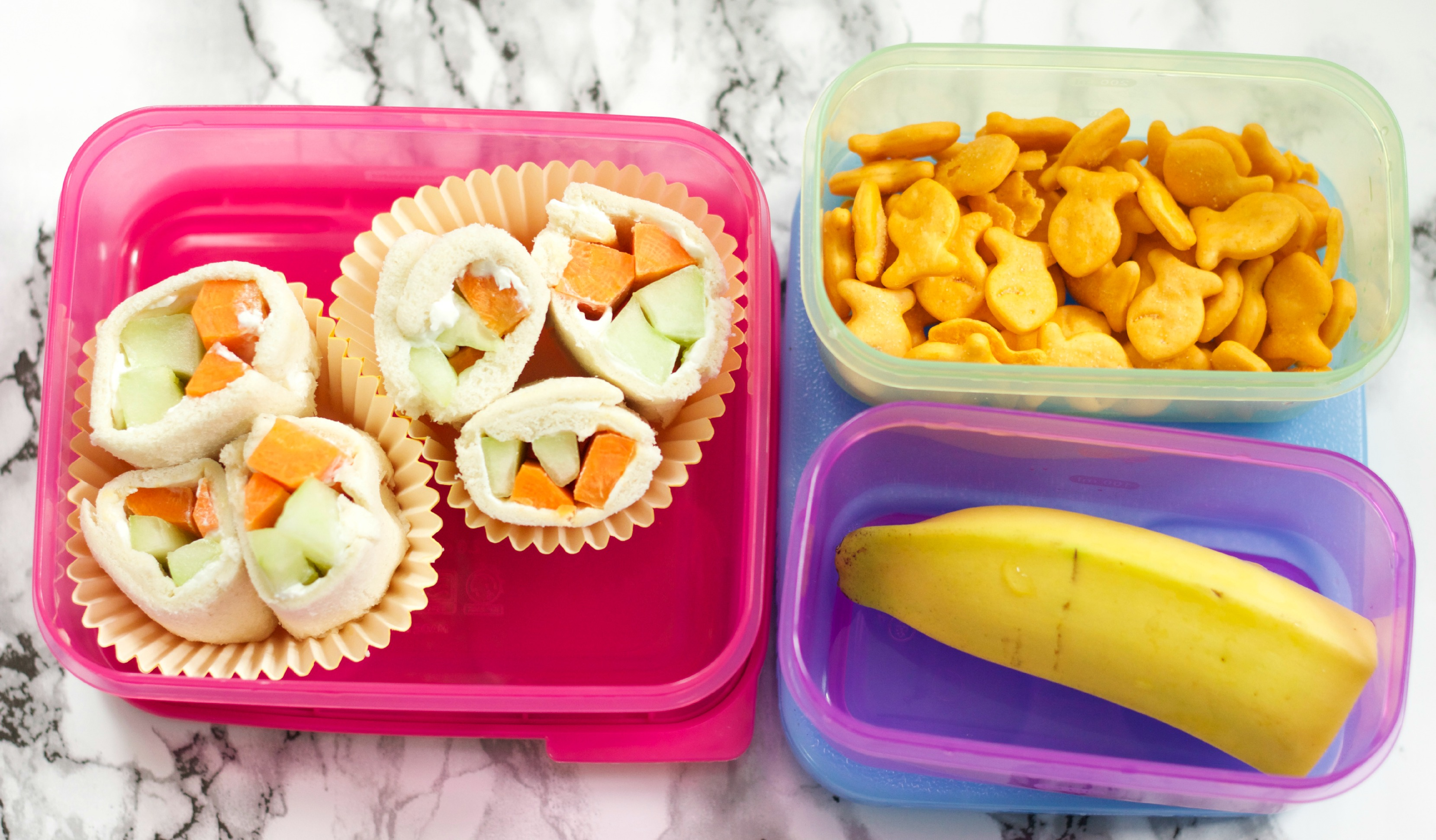 Vegetable Sushi, with gold fish and banana