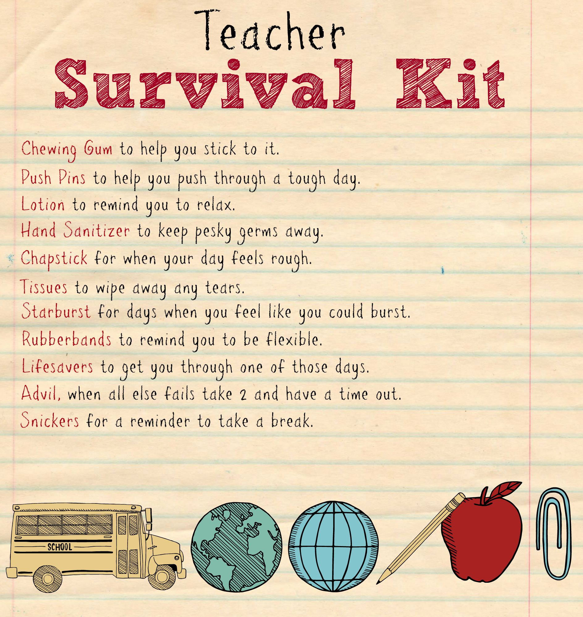 Teacher Survival Kit Printable 2
