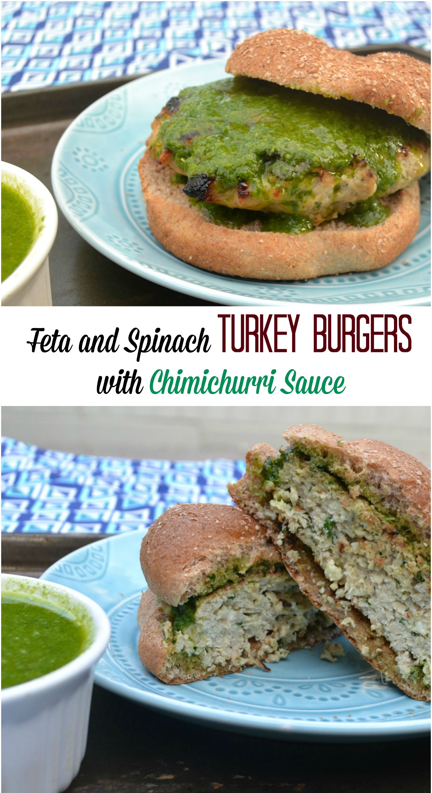 Feta and Spinach Turkey Burgers with Chimichurri Sauce