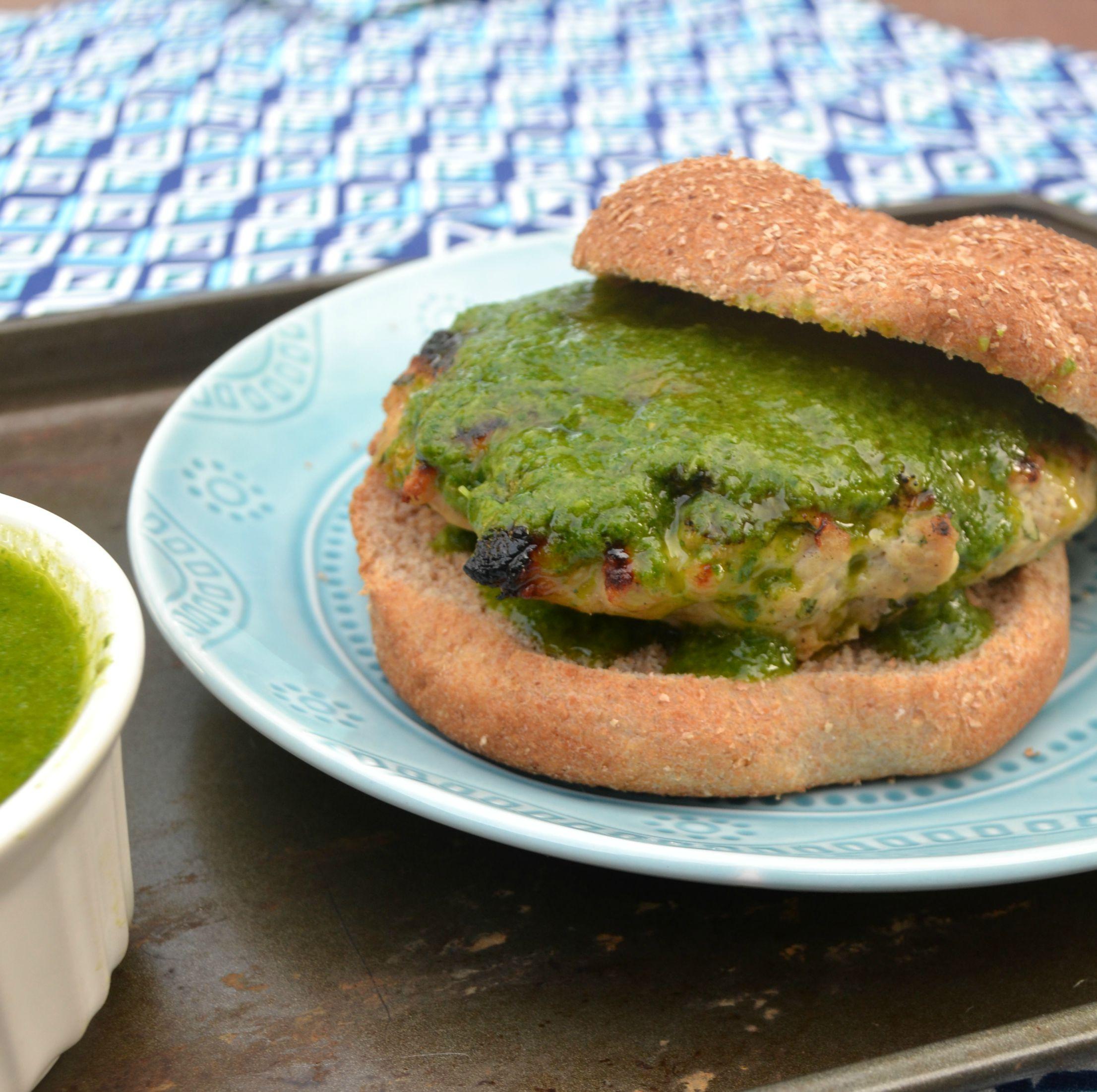 Turkey Burger with Chimichurri Sauce