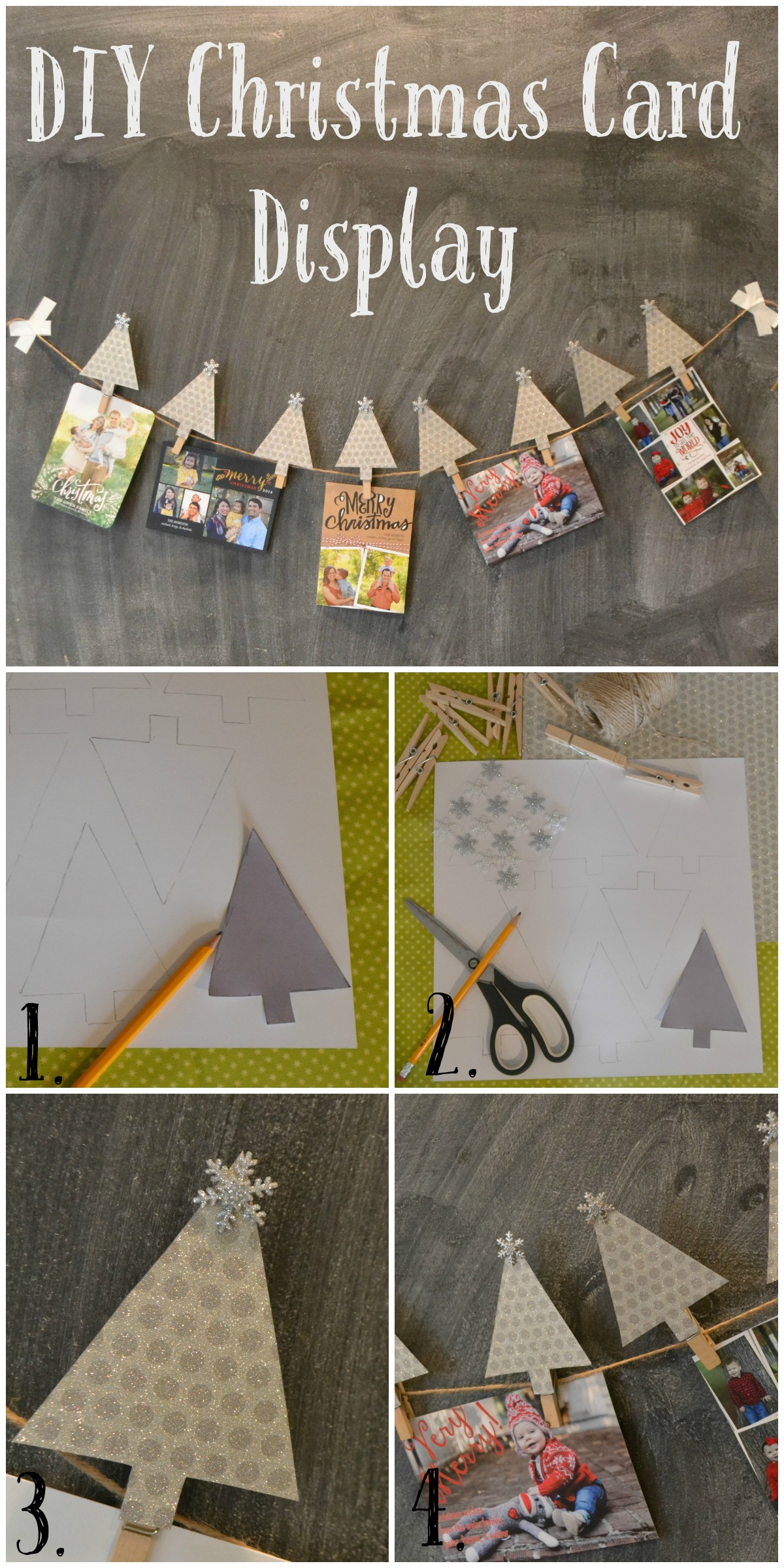 DIY Christmas Card Display and Holder Steps