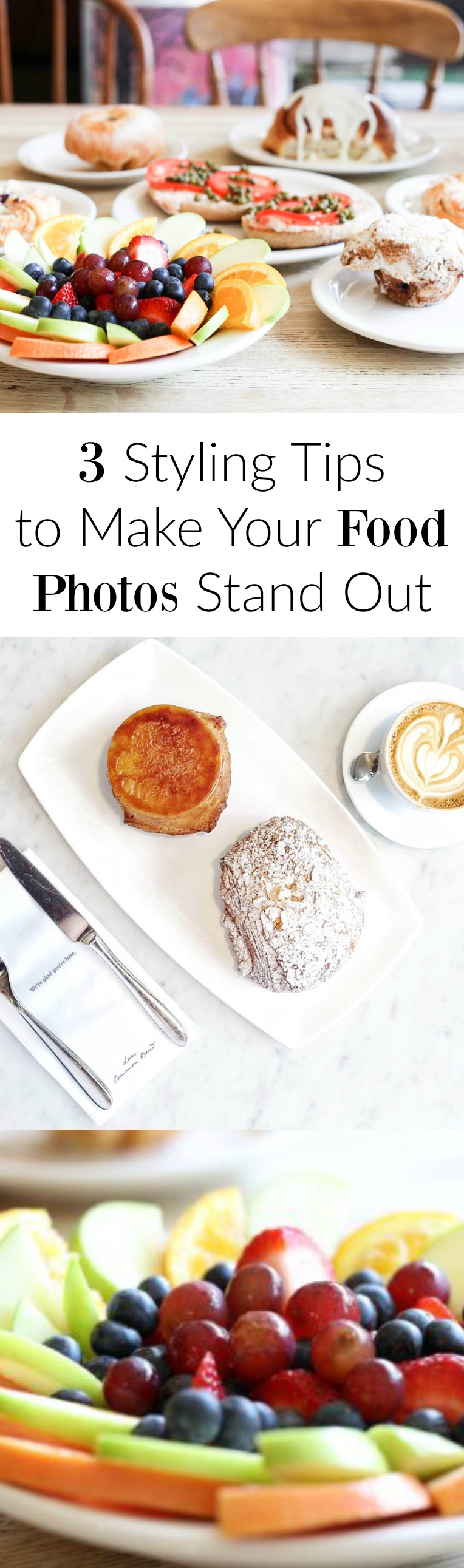 These are great tips! Easy and practical for anyone no matter what kind of camera. Food photography, photography tips, food styling.