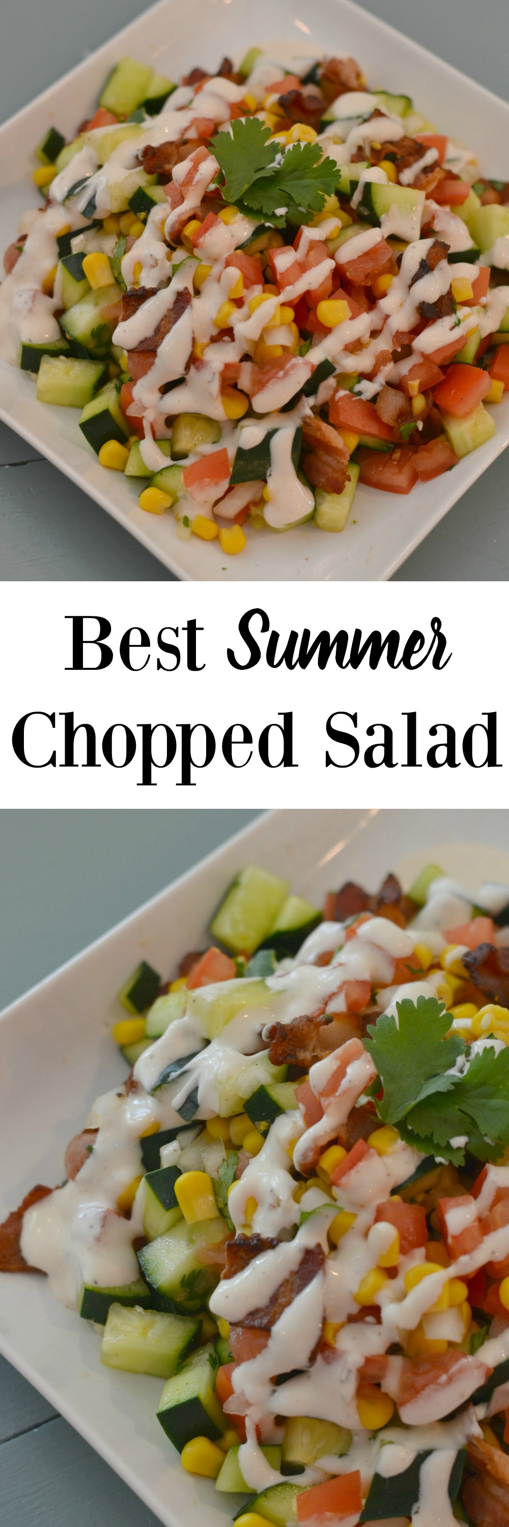 Best Summer Chopped Salad- this salad is so deliciou and easy. Cucumber, tomato, avocado, bacon and more!