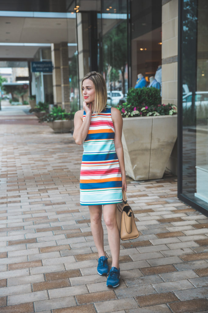 how to wear a dress and sneakers together