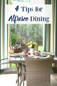 4 Tips for Alfresco Dining- Tips for the perfect outdoor party! Love these ideas.