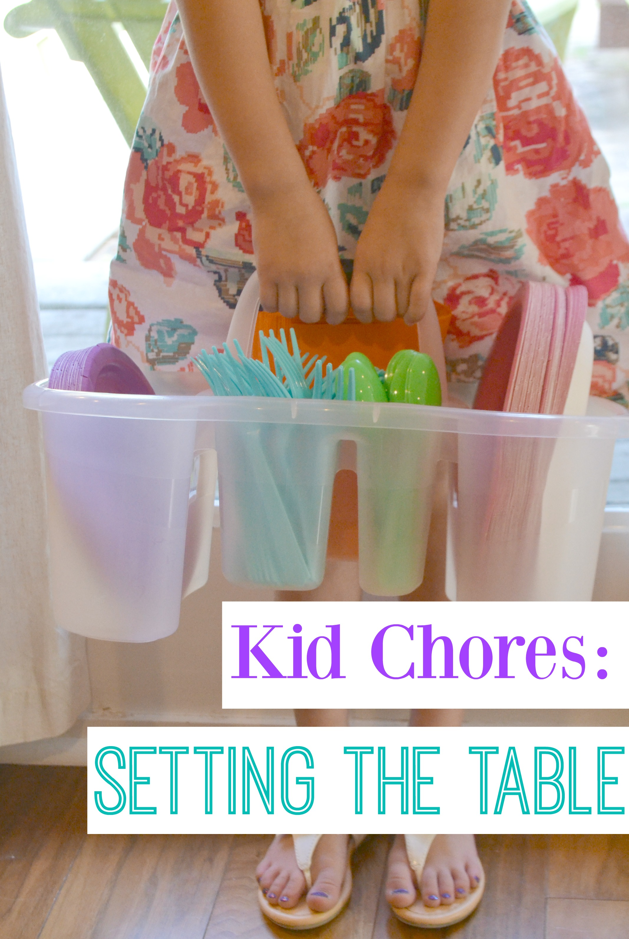 Kid Chores: Setting the Table. This caddy is perfect for toddlers learning chores. It has everything they need in all one space.
