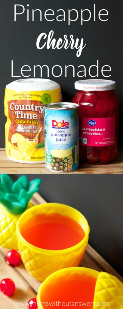 Easy Pineapple Cherry Lemonade perfect for summer pool parties, beach days or BBQs
