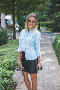 How to wear a leather skirt for the fall | Leather Skirt outfit | Leather and Denim outfit