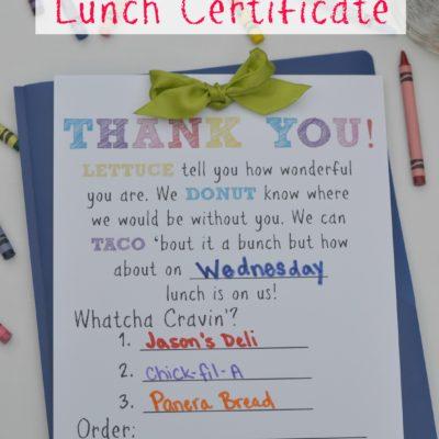 Teacher Gift: Lunch Certificate
