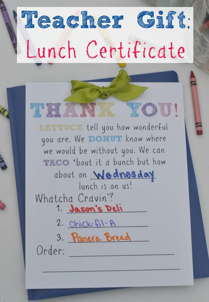teacher gift  lunch certificate