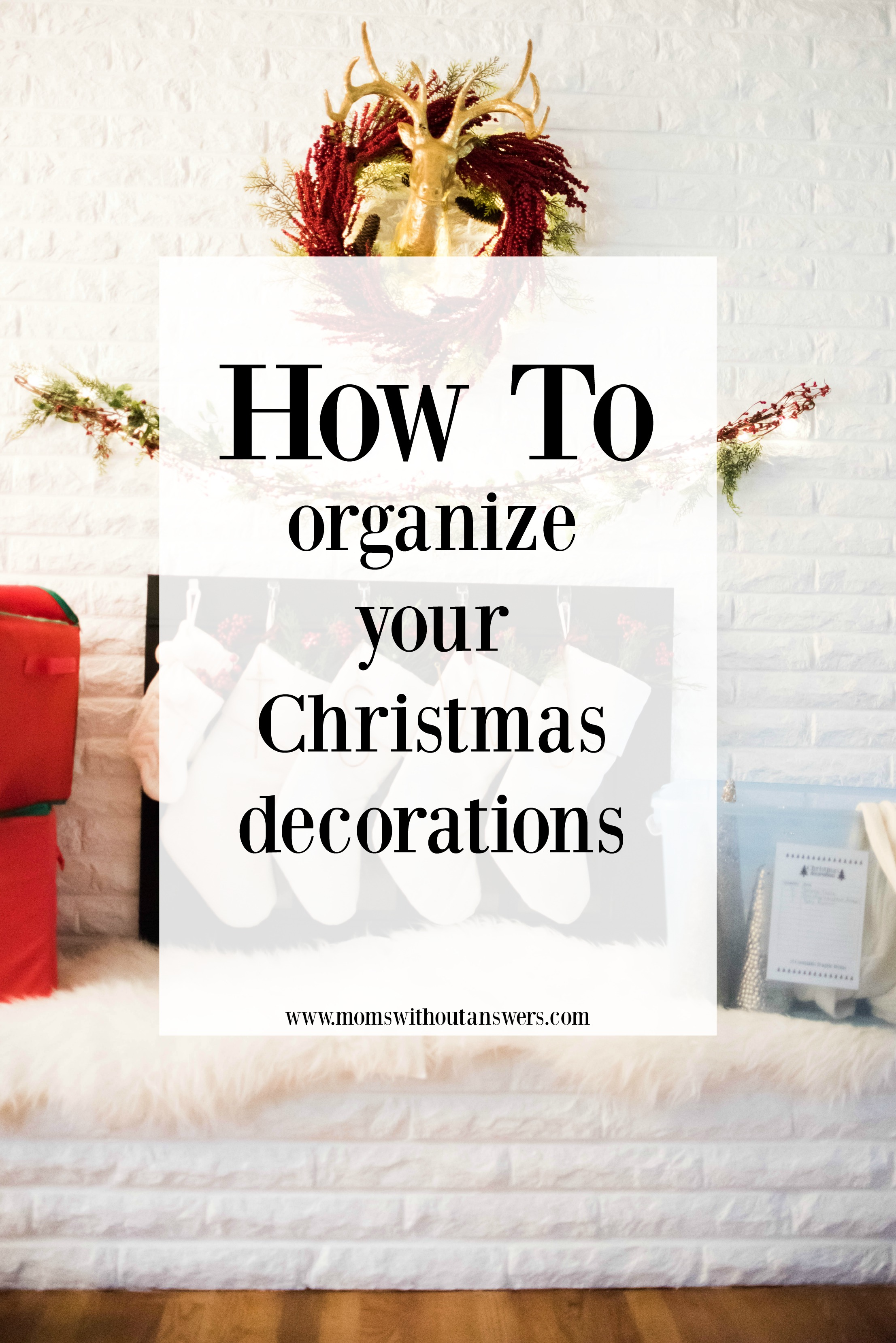 organizing christmas decor with text