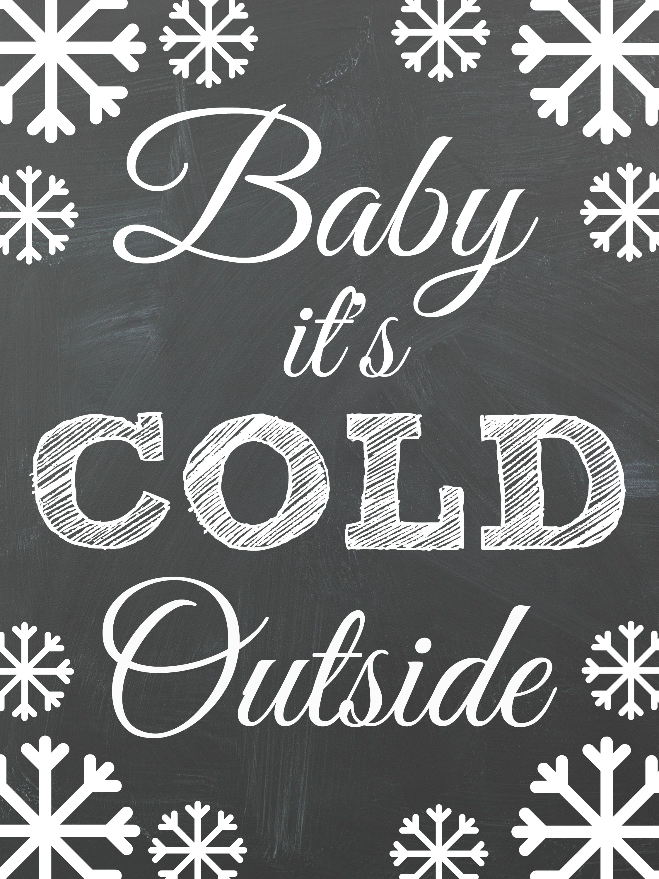 Baby it's Cold Outside Free Chalkboard Christmas Printables! Perfect for a DIY Christmas Gallery Wall.