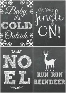 Free Christmas Chalkboard Printables! These DIY Christmas Printables are super cute and fun! Farmhouse style Christmas Printable