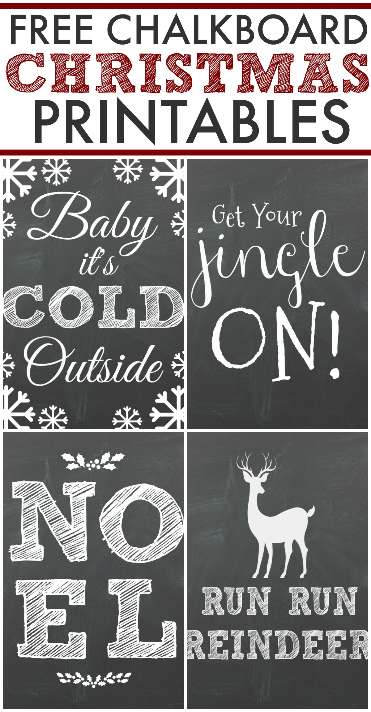 Free Chalkboard Christmas Printables! Perfect for a DIY Christmas Gallery Wall.