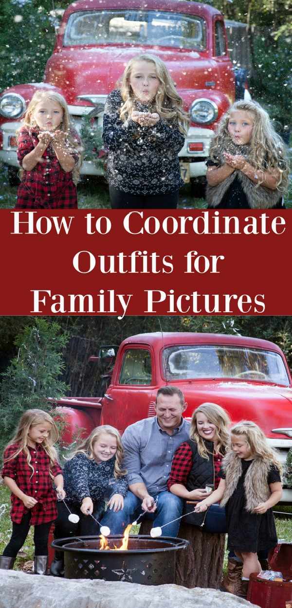 How to Coordinate Outfits for Family Pictures. The best colors for family pictures. Holiday pictures and Fall pictures. Great tips for the perfect family pictures.