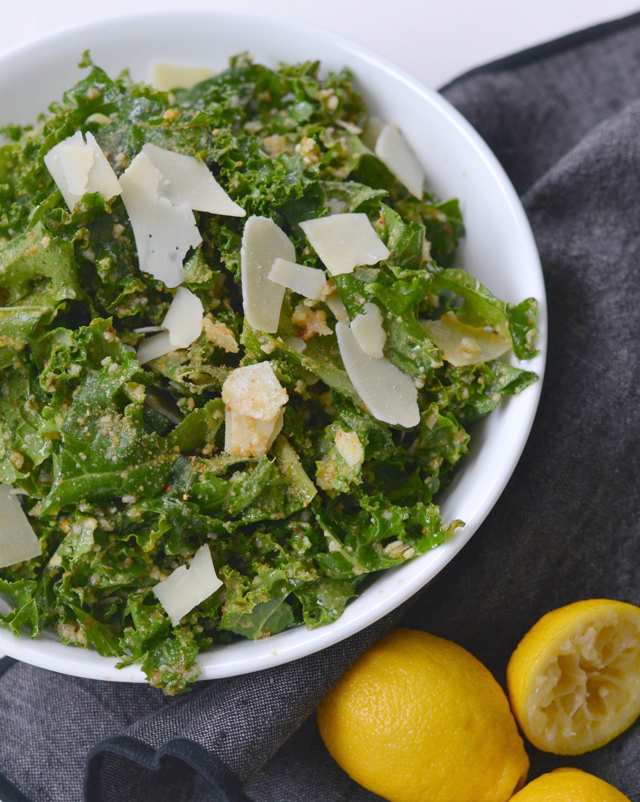 Super food Kale Salad with Parmesan Cheese