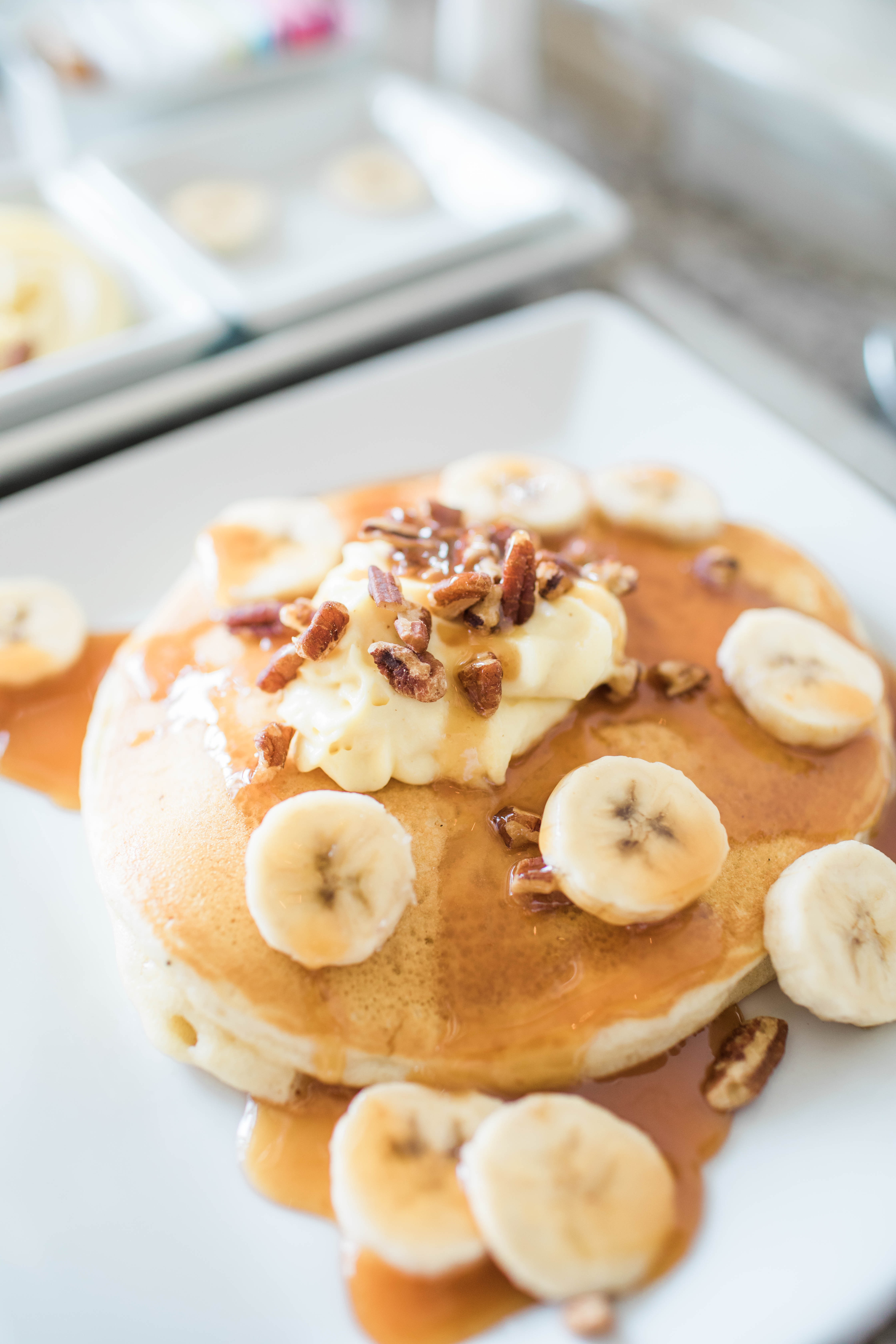 Pancakes covered in delicious toppings