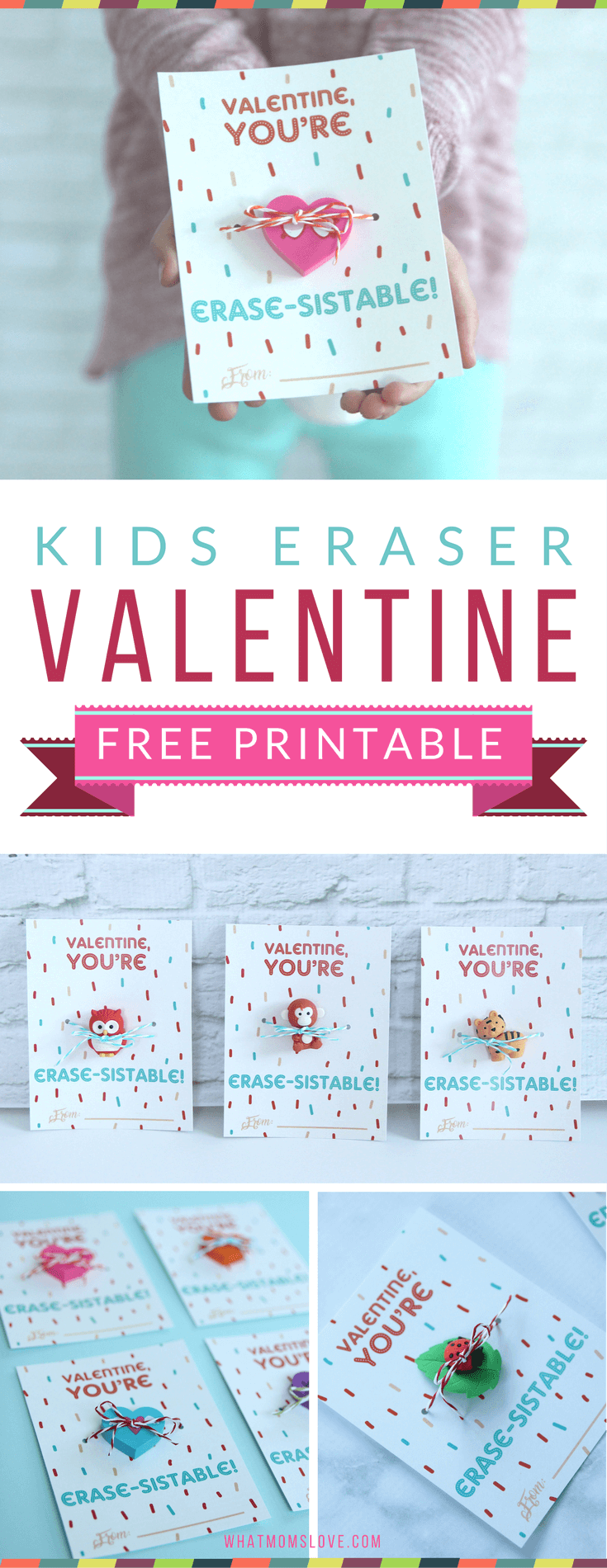 Valentine Card for Kids with Eraser