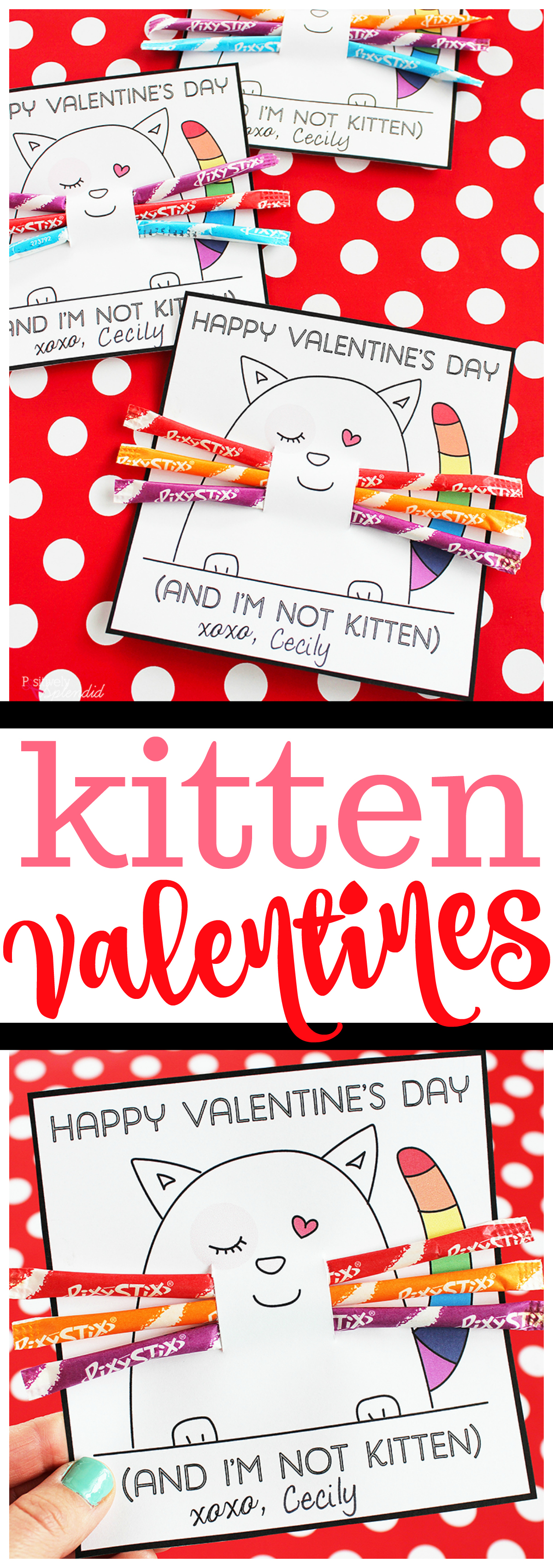 Kitten Valentines Day Card for Kids