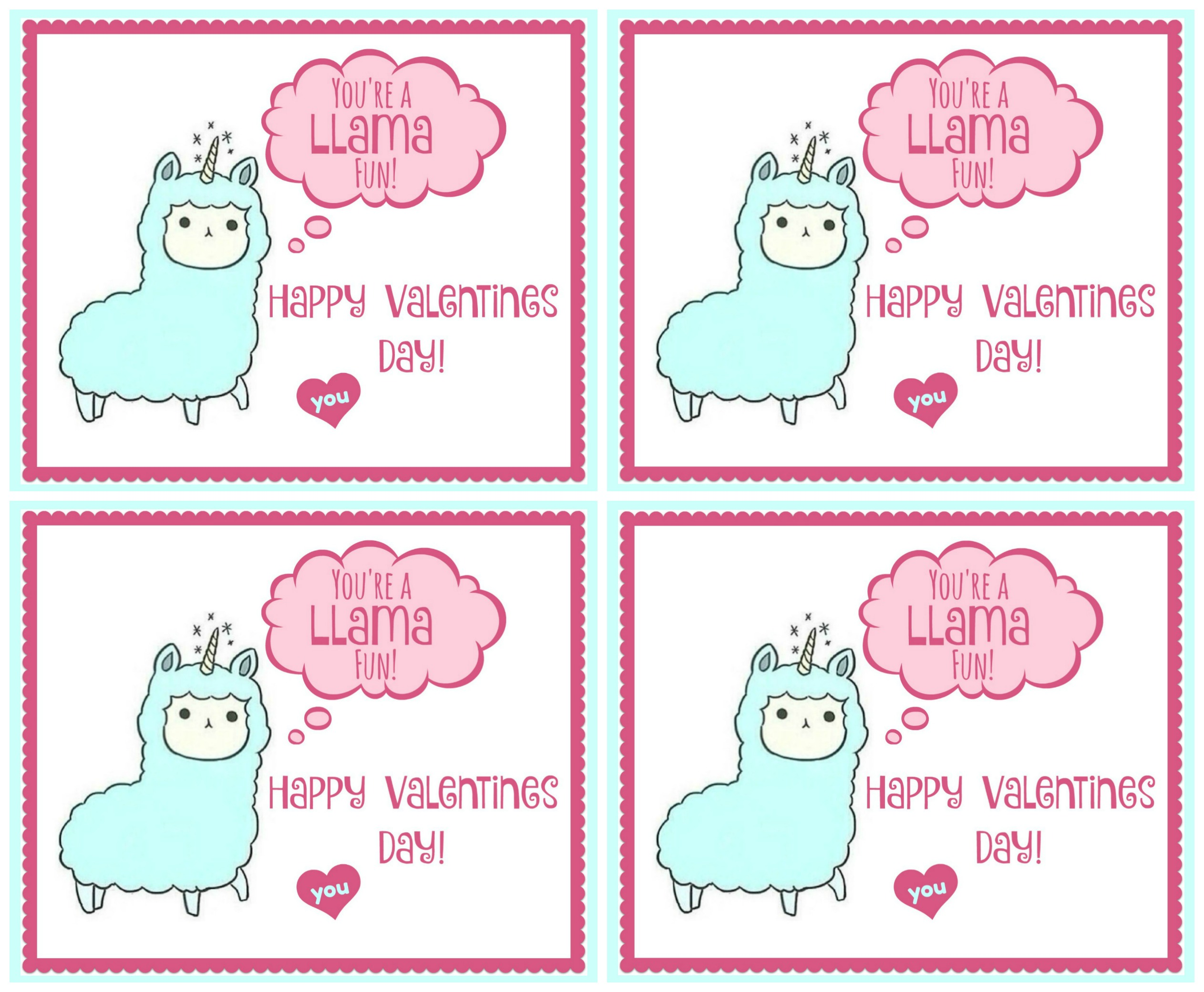 Llama Valentine Printable #valentinesday #diyvalentine #diy #easy #valentine #kids #holiday