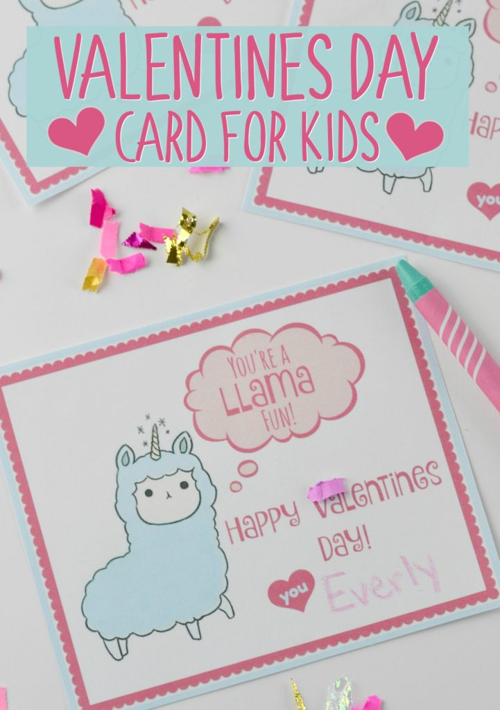 Llama-corn Valentines Day Card for Kids