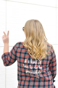 Plaid shirt with DIY Disney Quote on Back