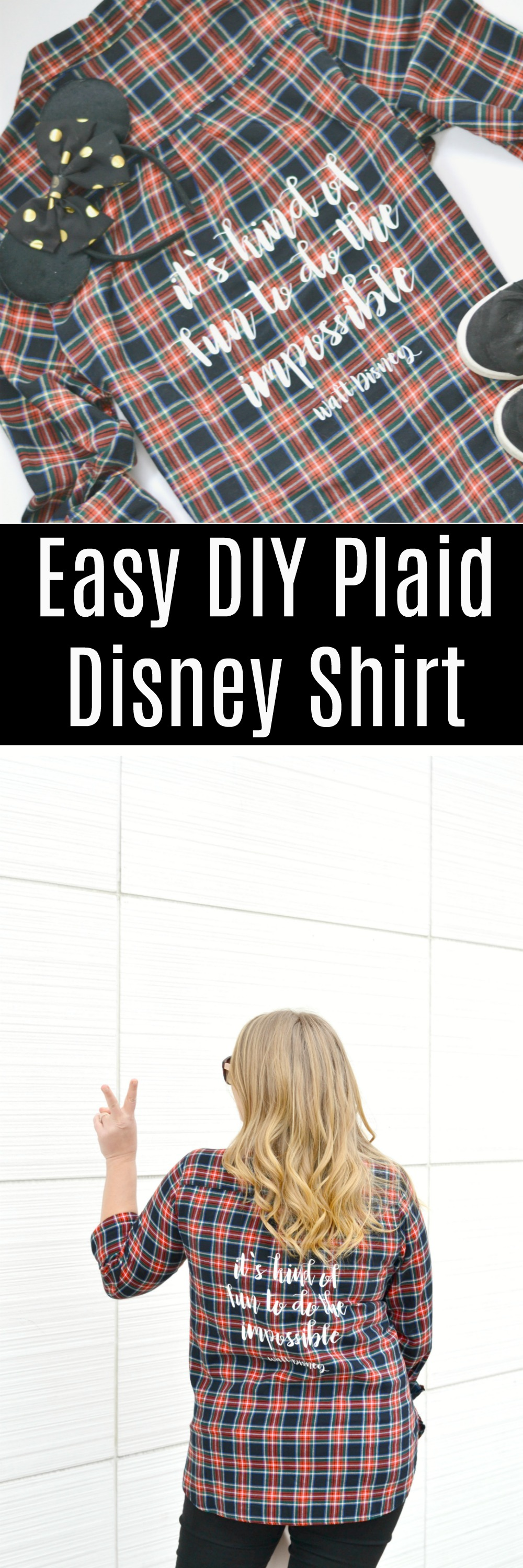 Plaid Shirt with Walt Disney Quote