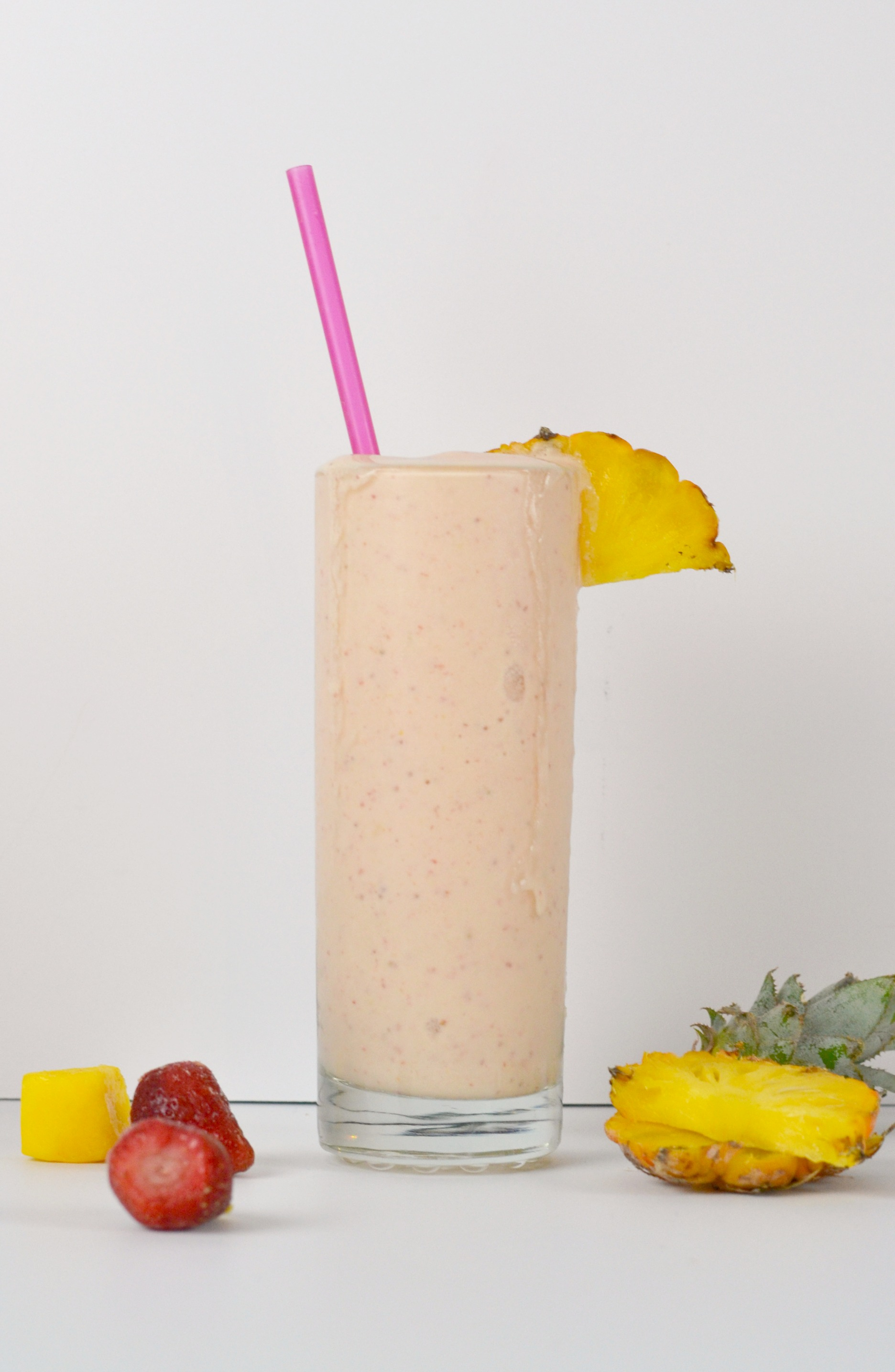 Breakfast smoothie with fruit.