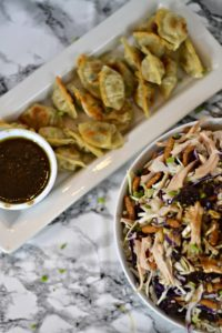 Pan Seared Wontons with Asian Chicken Salad and Dipping Sauce