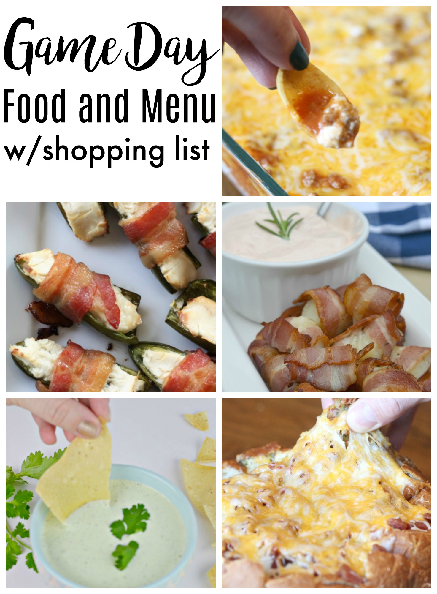 Game Day Food and Menu with Shopping List