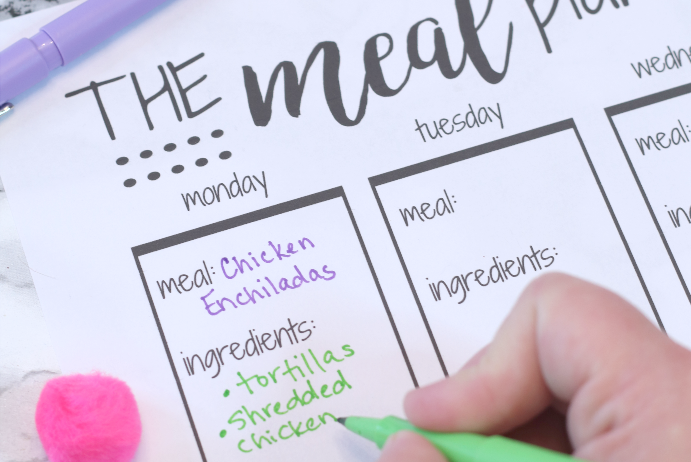 Meal Planner Template with Recipe Ingredients